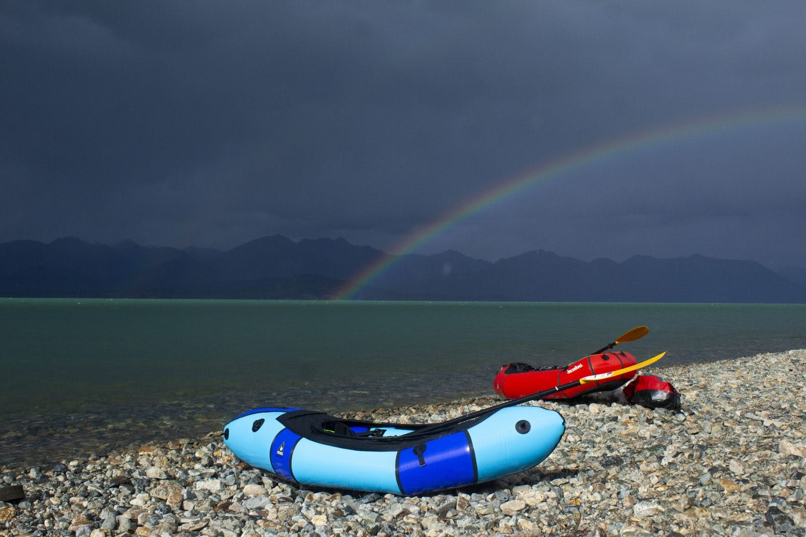 My packraft (Louise) and Paul's packraft (Jezebel) soaking up the view over Lake Clark. Photo by: Sam Carter
