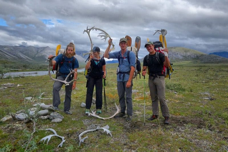 Group holding up caribou sheds. Photo by Tyler Marlow