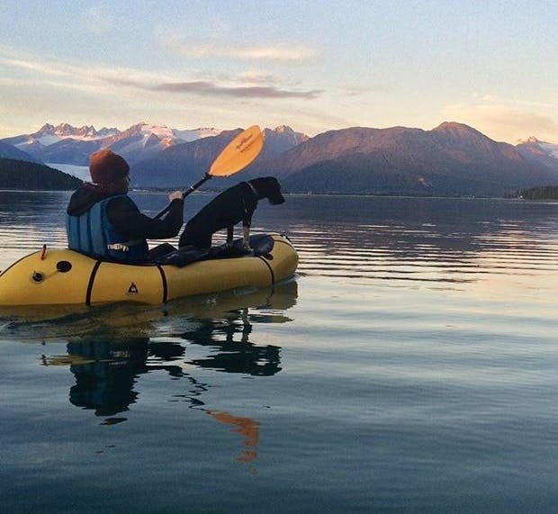 """Deanne Huff: """"Ben and Tesla: Out for an evening ocean paddle from our home on Douglas Island, Alaska. Mendenhall Glacier is in the background."""""""