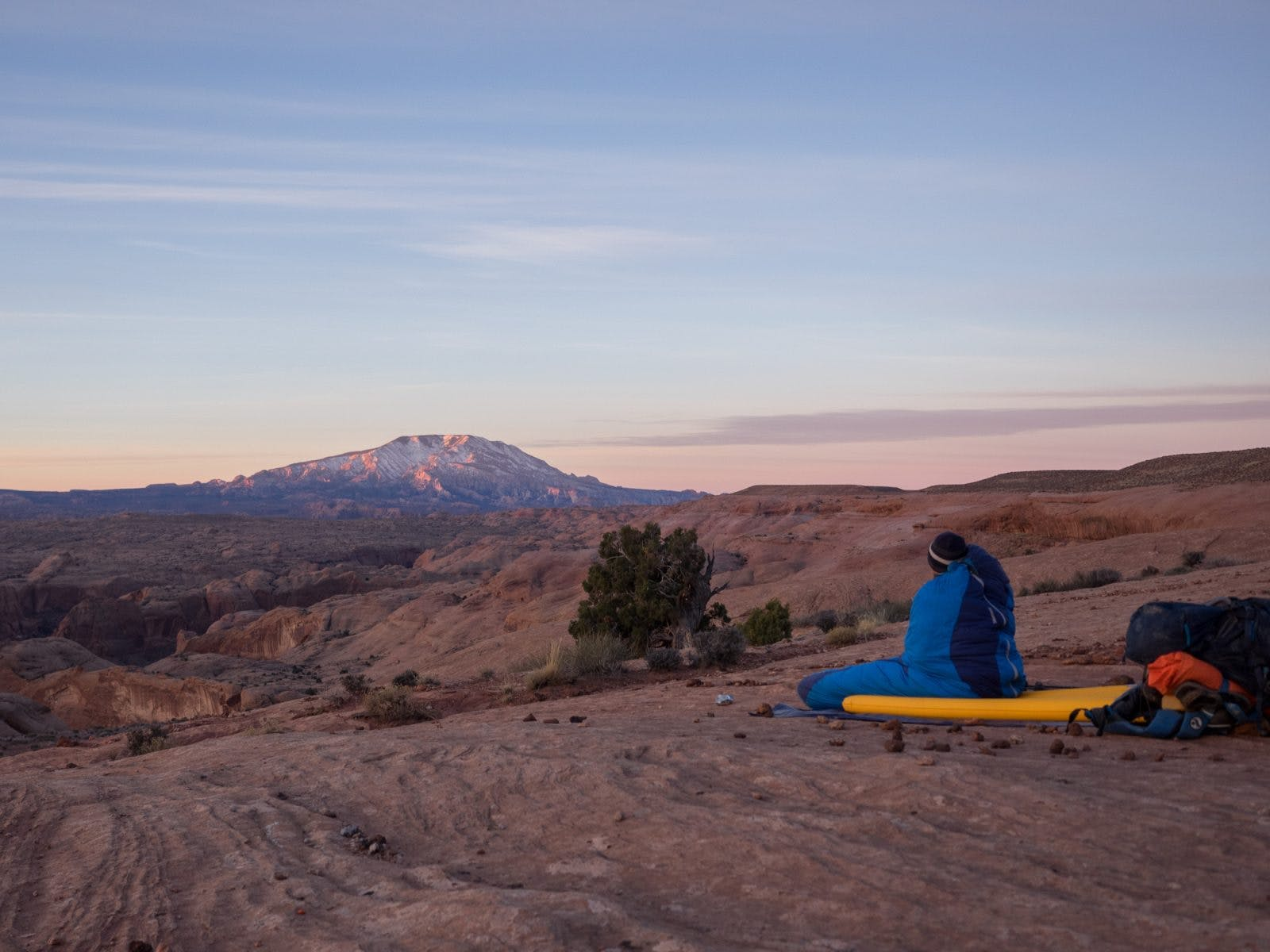 On our third day of hiking we awoke to view Navajo Mountain lit up in spectacular fashion.