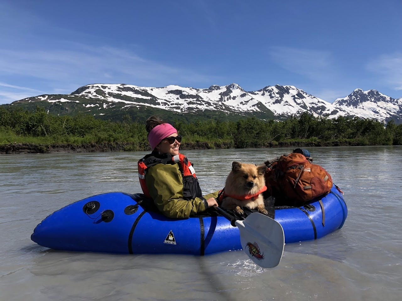 """Aimee Chauvot: """"Leo's First Float: Adam White captured this picture of his wife, Aimee, and fur-baby Leo, on the Placer River float in Alaska this summer. She (the dog) was a natural!"""""""