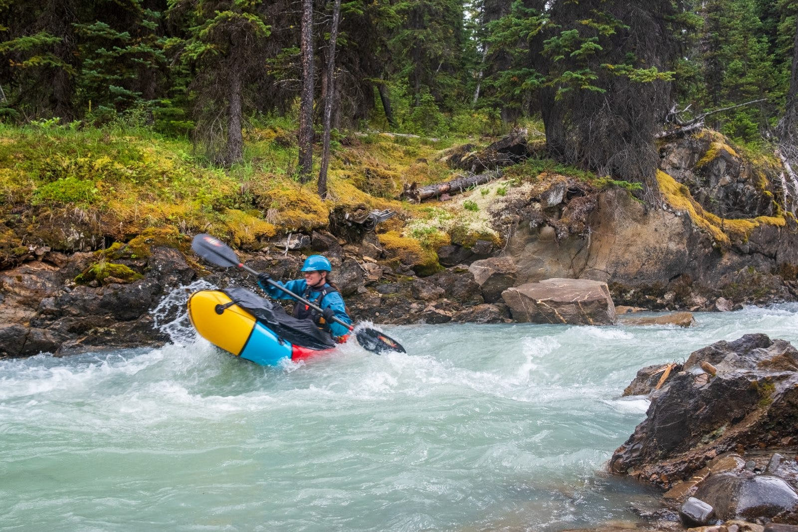 The first few meters on the Snake Indian River were already a ride. Photo by Coburn Brown