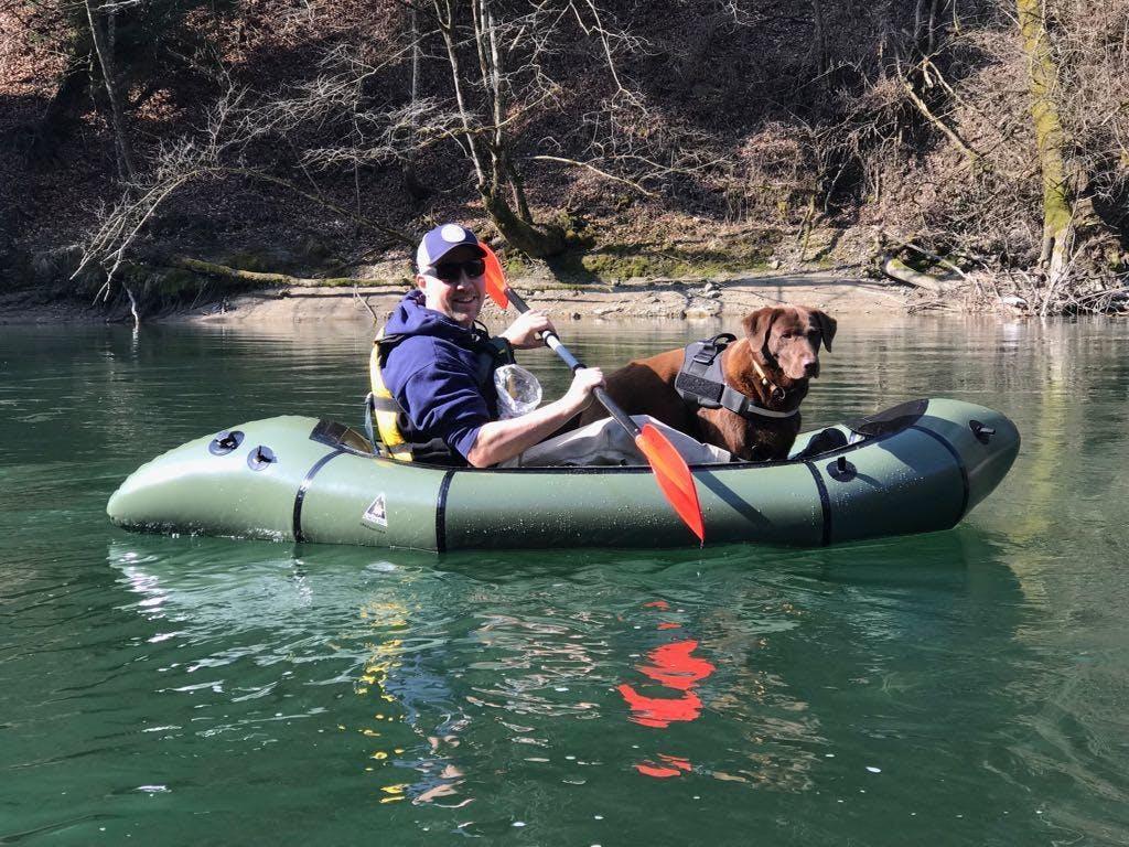"Stefan Oesterreicher: ""Wilcodog: Reuss River, Switzerland Wilco, the chocolate lab on his very first packrafting tour."""