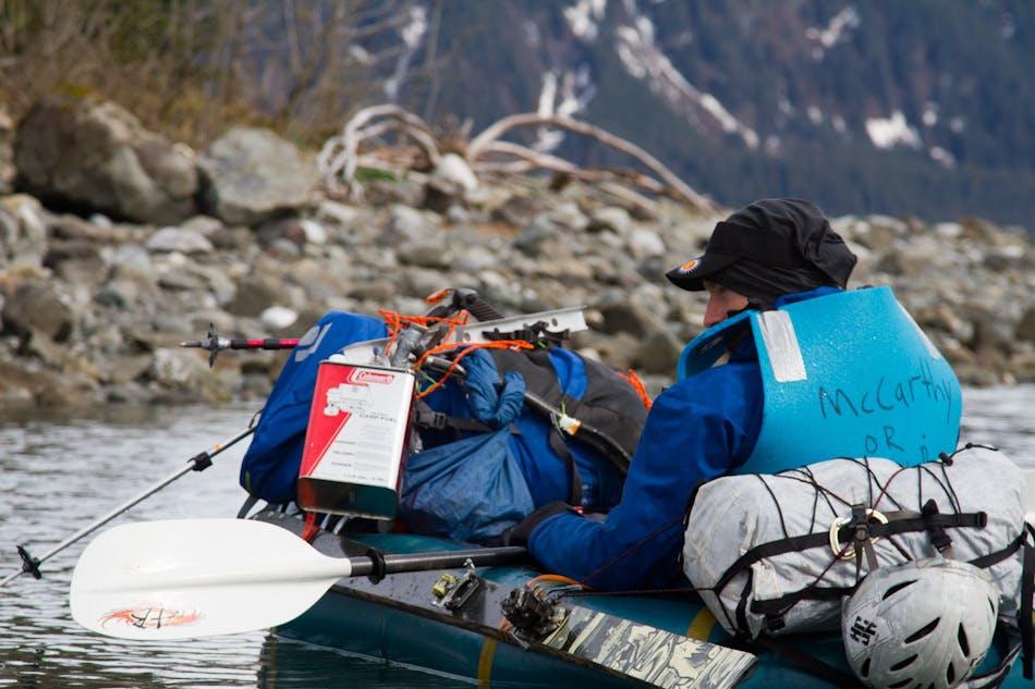 Luc Mehl's climbing partner Graham Kraft at the start of their Denali adventure. Photo by Luc Mehl