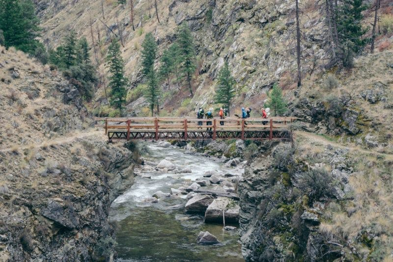 1.Crossing the footbridge over Big Creek, looking at the last major rapid we'd run on the way down.