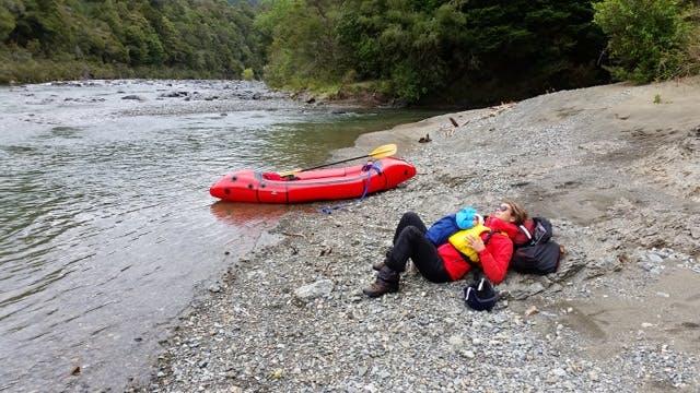 Michaela and Maya Crockford take a sleep break on multiday Pelourus, New Zealand, trip with the Gnu.