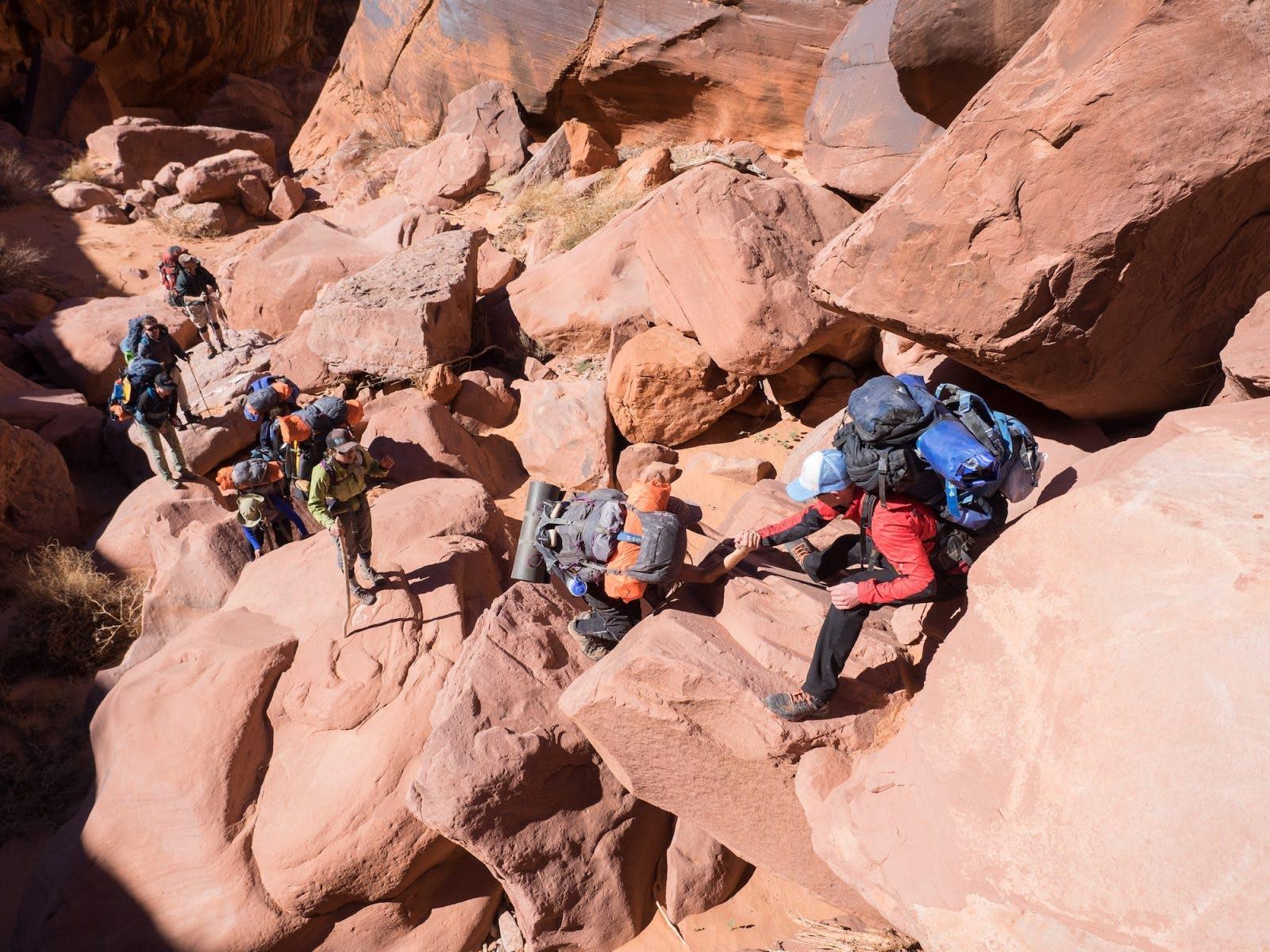 """Team work was essential through """"Boulder Alley."""""""