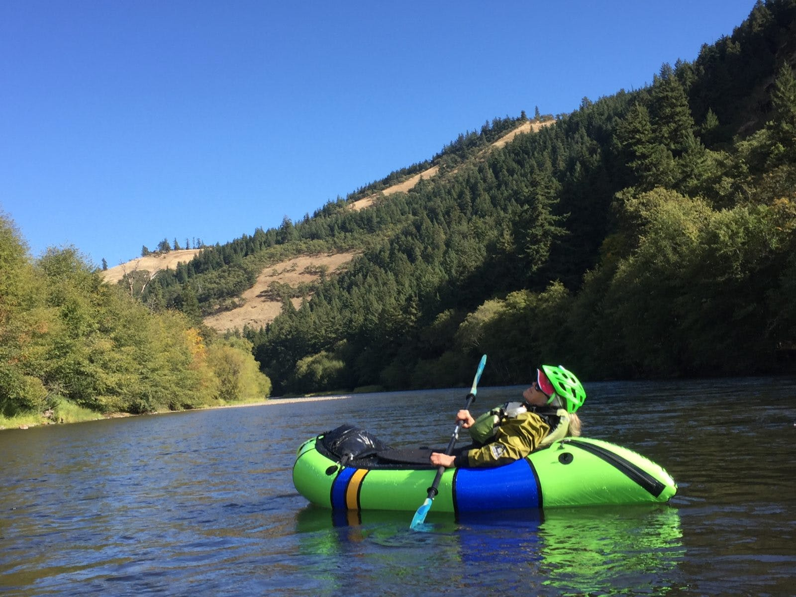 Soaking it in while she can – Cathy (our Ops Director's mom) takes advantage of the sun on a relaxing weekend family float down the Klickitat River in Southern Washington.