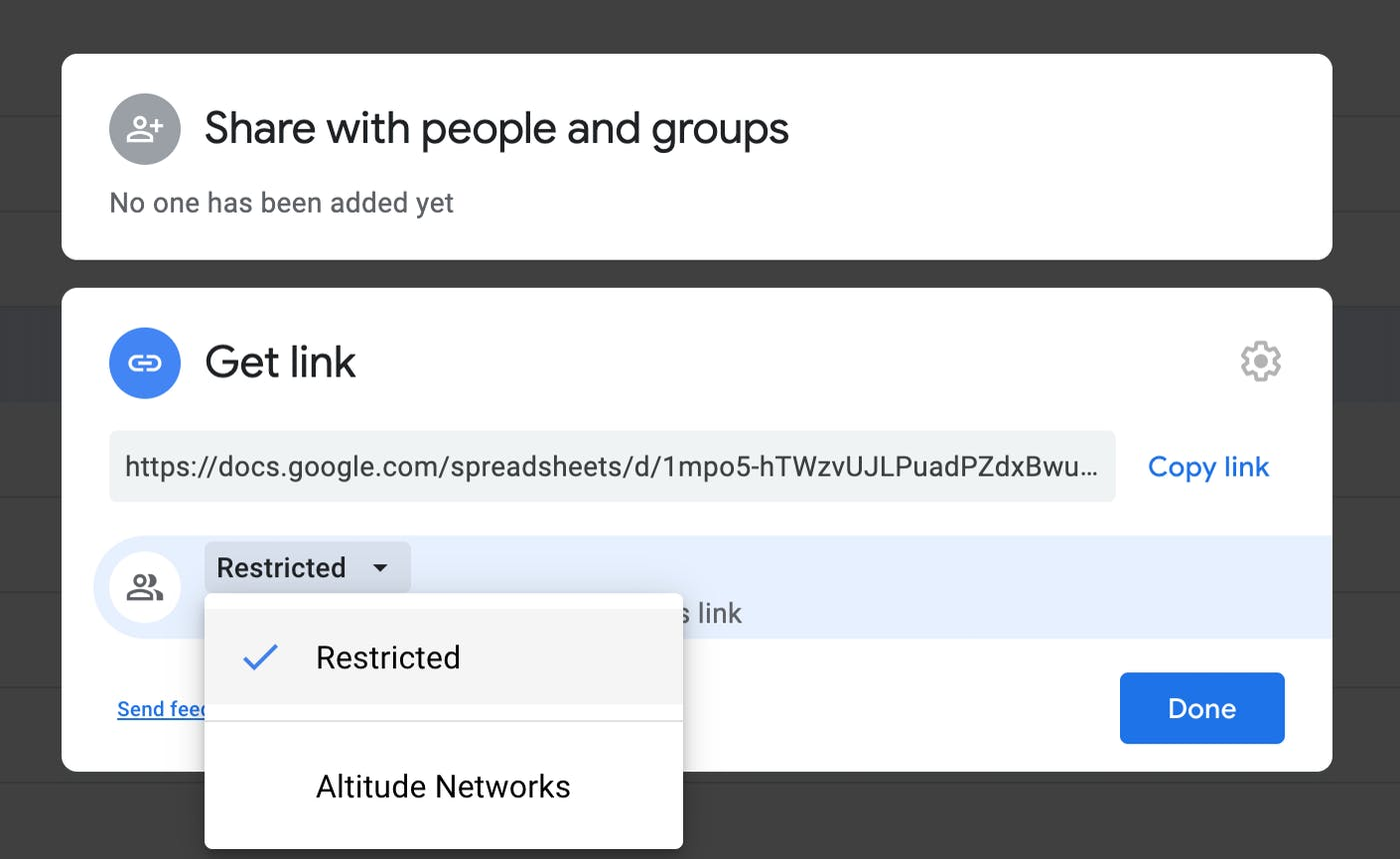 Sharing Google Docs with restricted link sharing.
