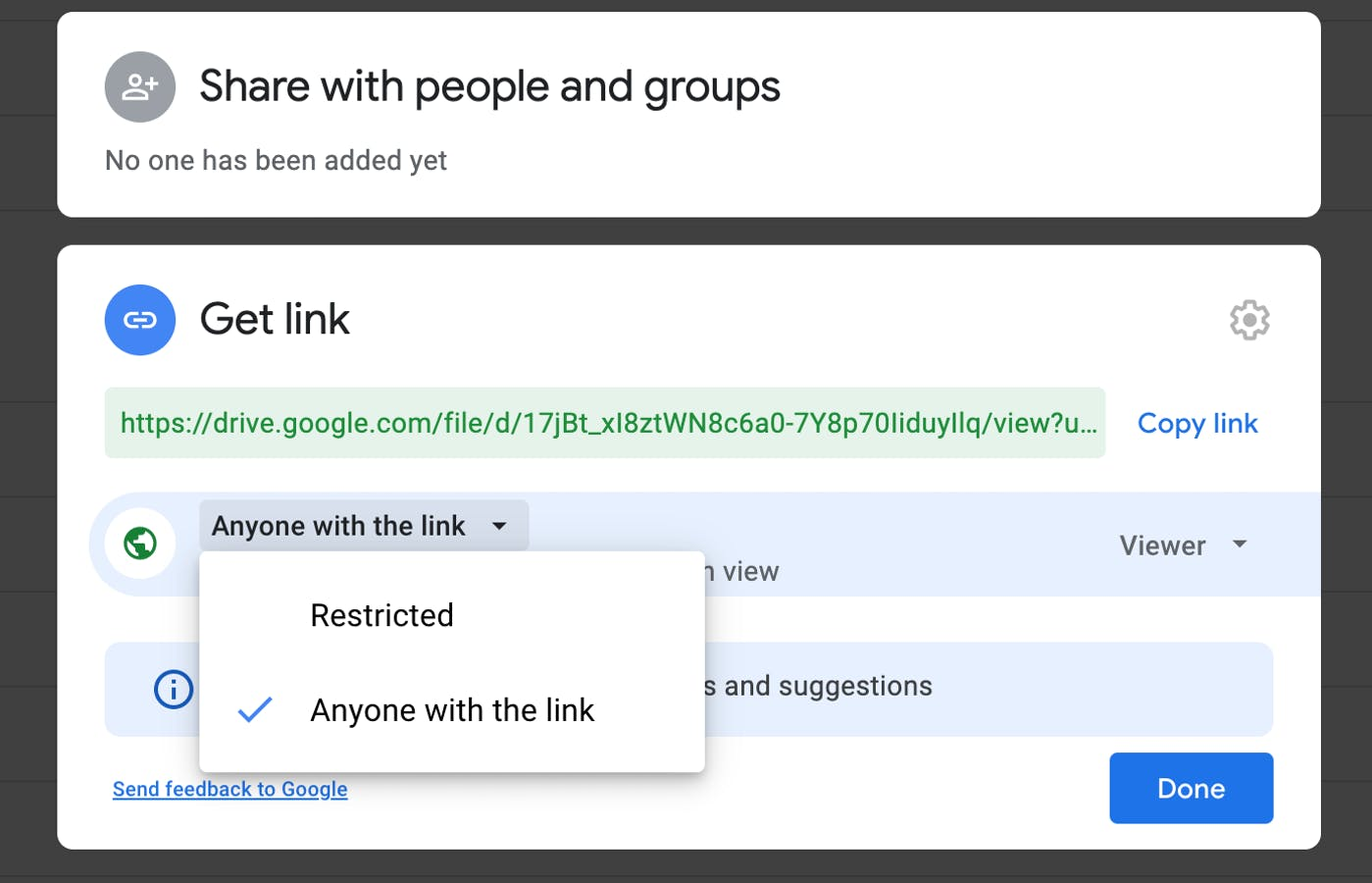 Sharing Google Docs to the public: anyone with the link can access.