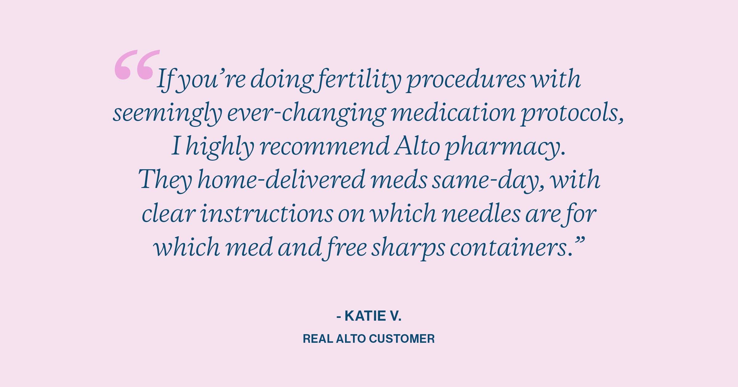 Alto Pharmacy fertility patient review