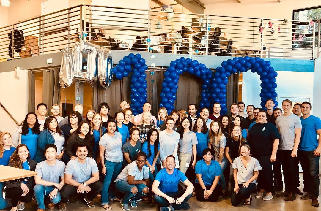 The Alto team when we reached 100 employees