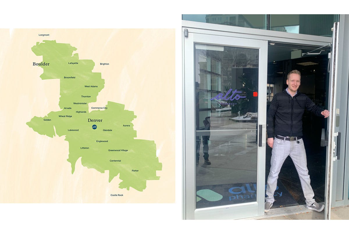 Left: Our Denver-Boulder courier service area; Right: a friendly Altoid at our 929 Broadway location