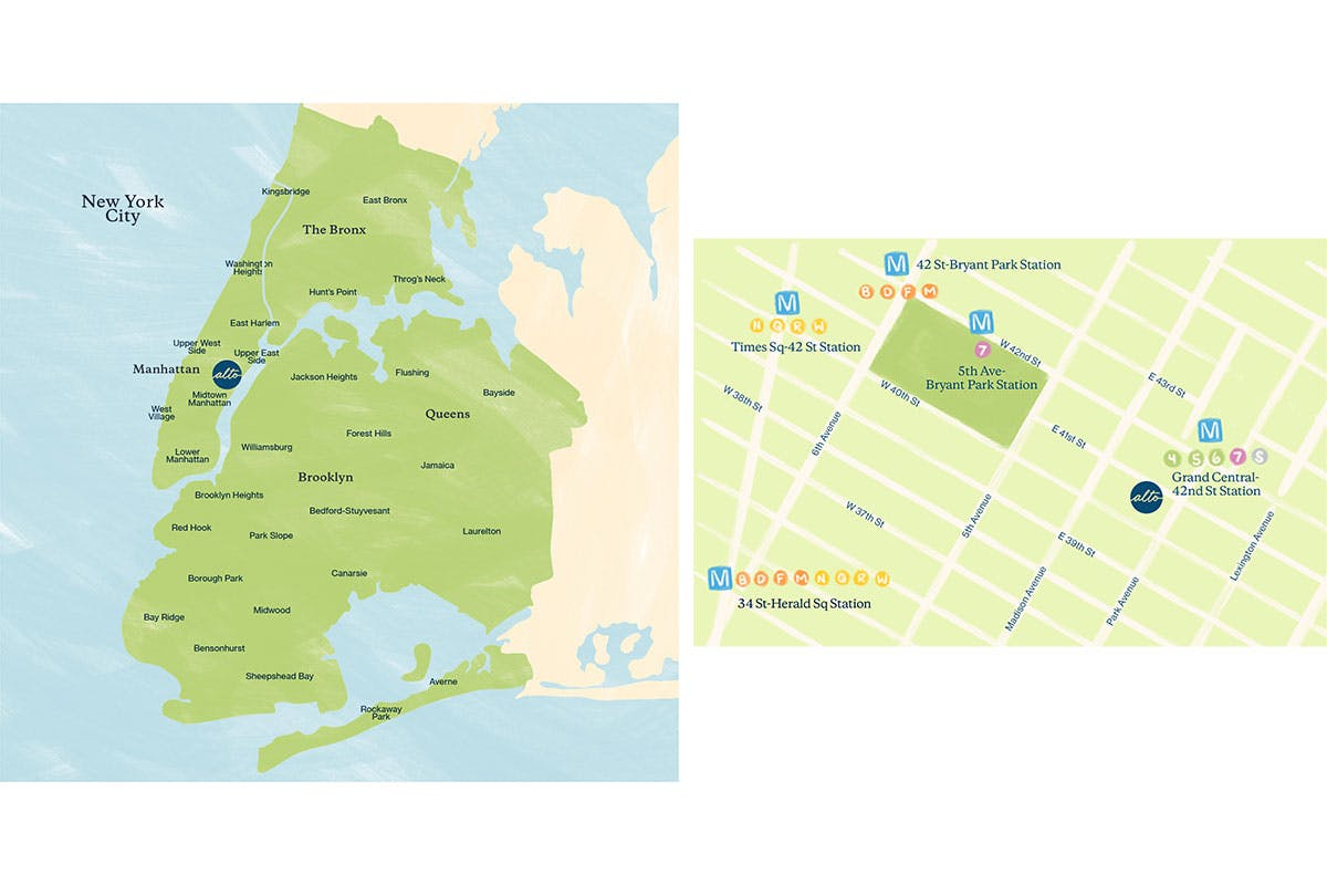 Alto's doorstep delivery courier zone; our midtown Manhattan pharmacy is easily accessible by transit.