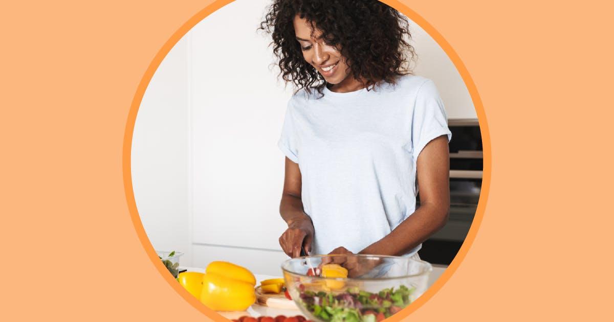Women cooking healthy food