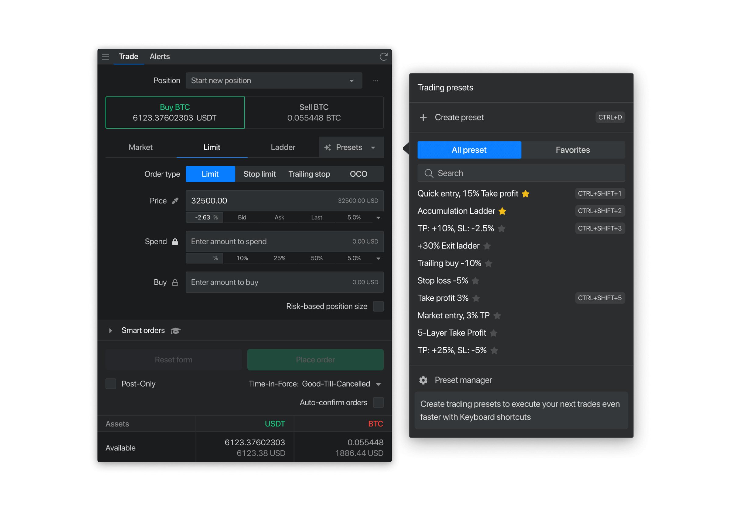 Smart trading presets (coming soon)