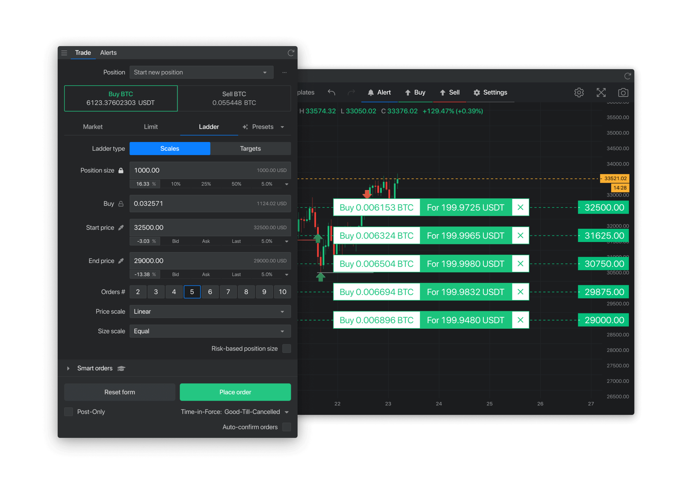 Create up to 10 ladder orders at the same time