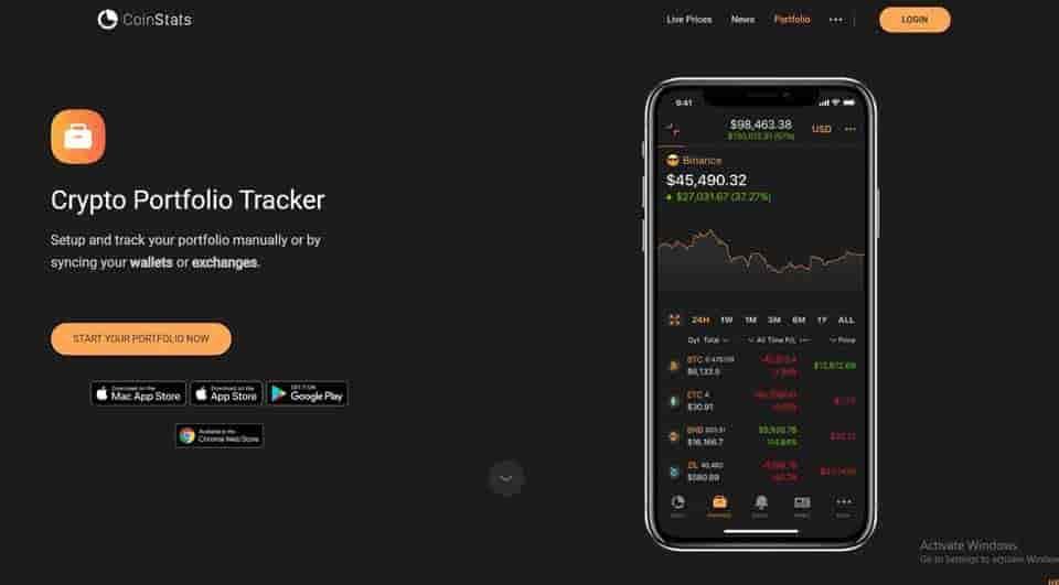 CoinStats crypto portfolio tracker