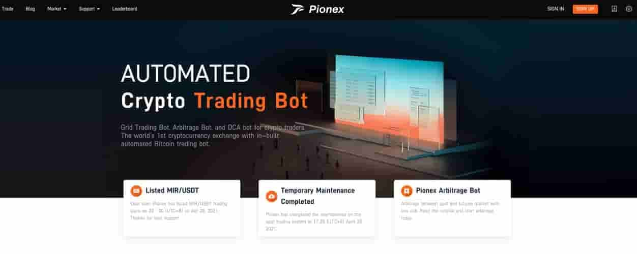Pionex crypto trading grid bot
