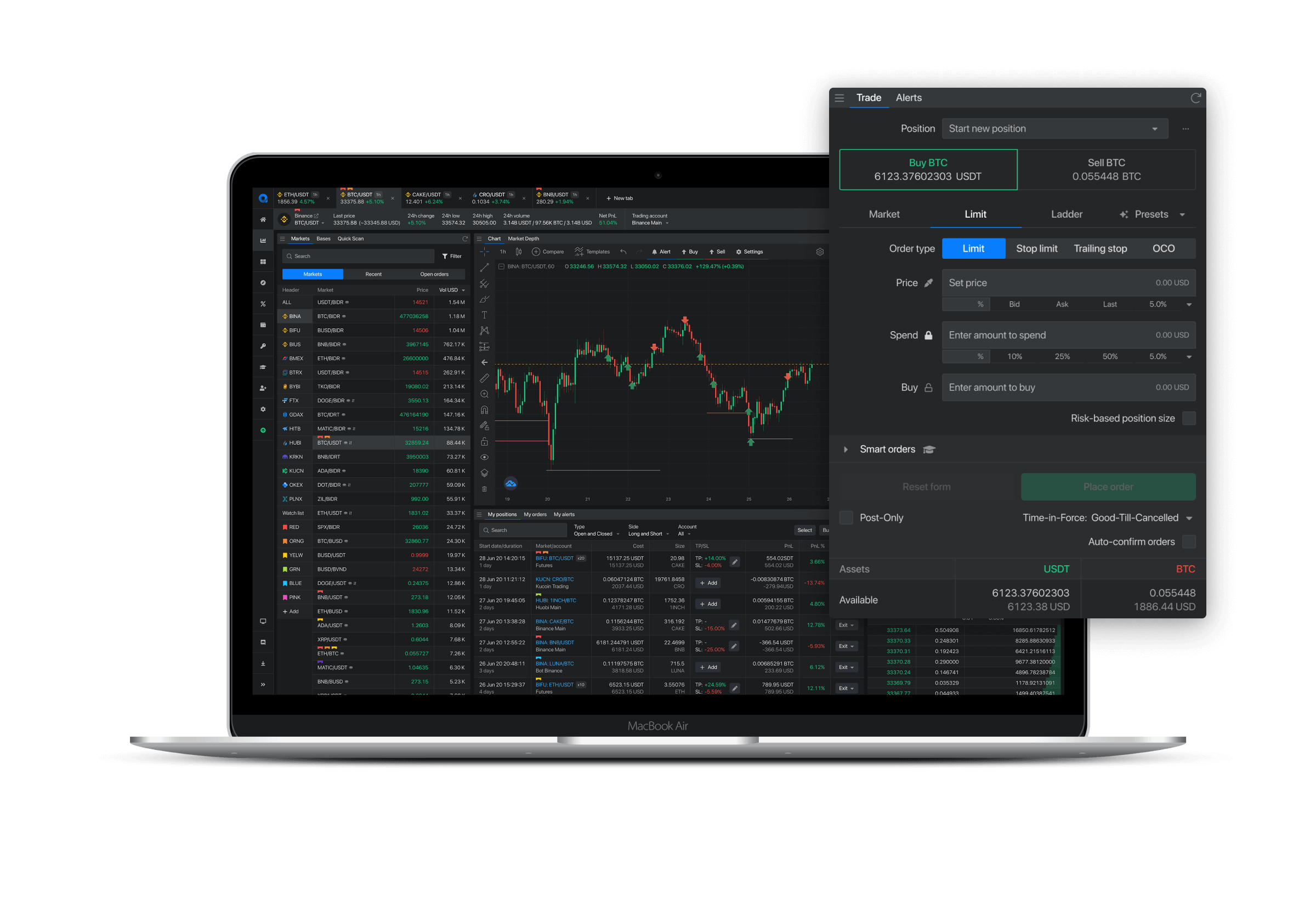 One interface to trade on multiple exchanges.