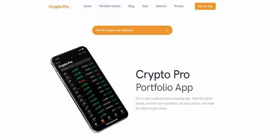 Crypto Pro portfolio app