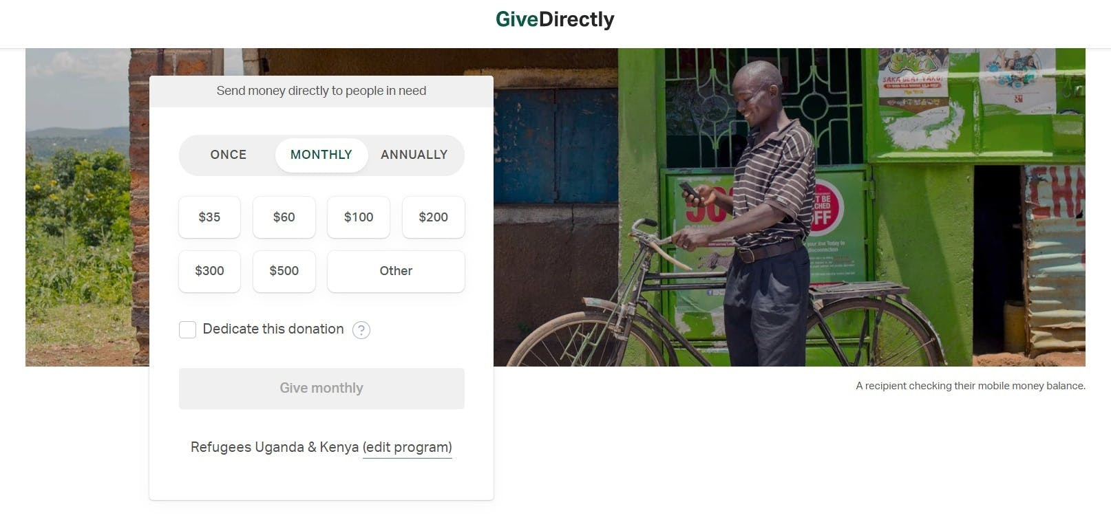 GiveDirectly donation recipient checking their mobile money balance