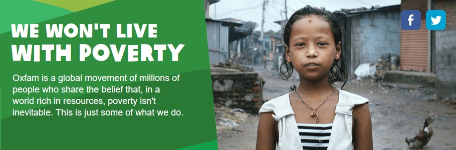 Inspirational Oxfam banner against poverty