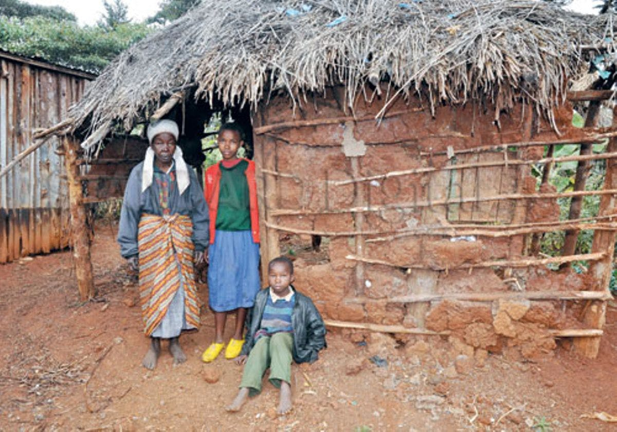 Kenyan family affected by extreme poverty living in rural area