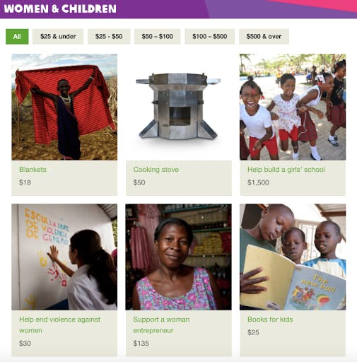 Oxfam lets you purchase charity gifts that support children in the poorest regions