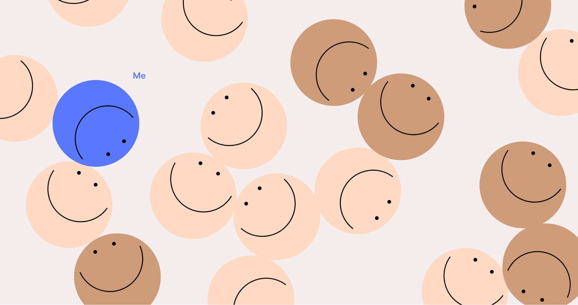 Pattern of smily faces on soft background
