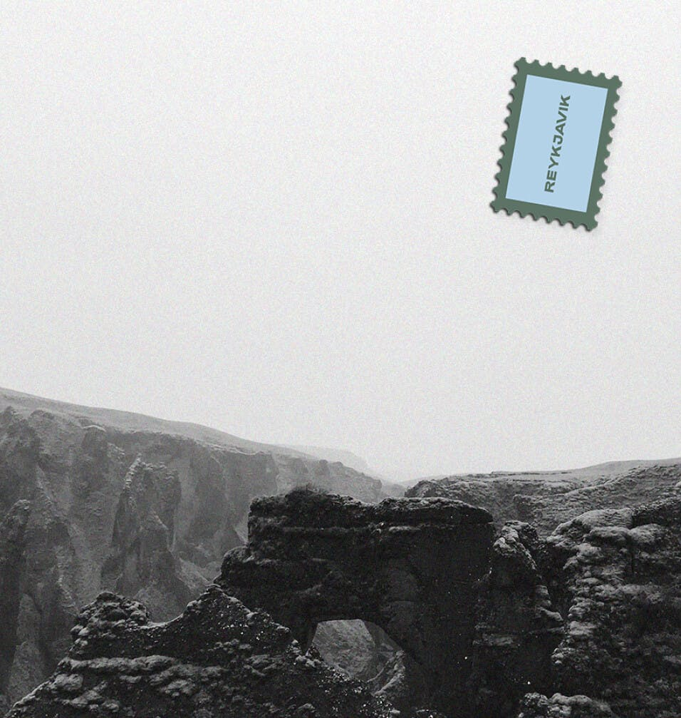 Postcard with Reykjavik stamp