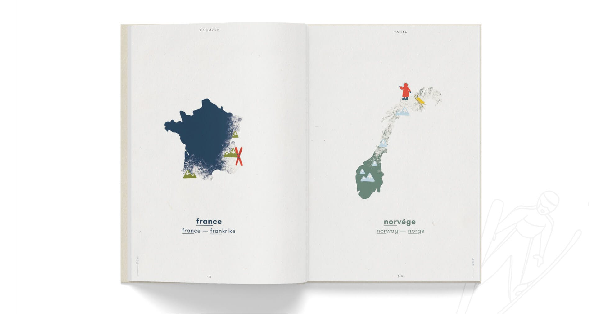 Book open on littles maps of France and Norway