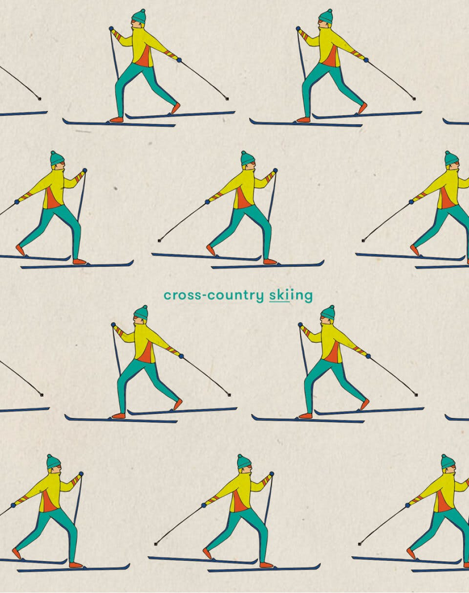 Illustrations of cross-country skier