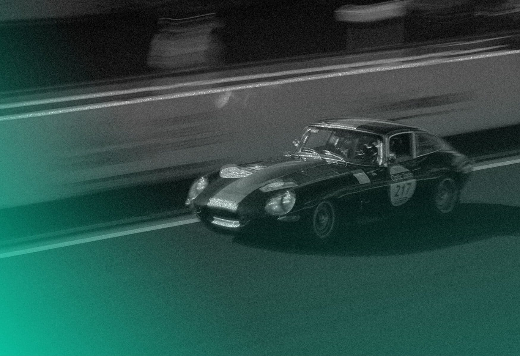 Vintage car on race with green gradient
