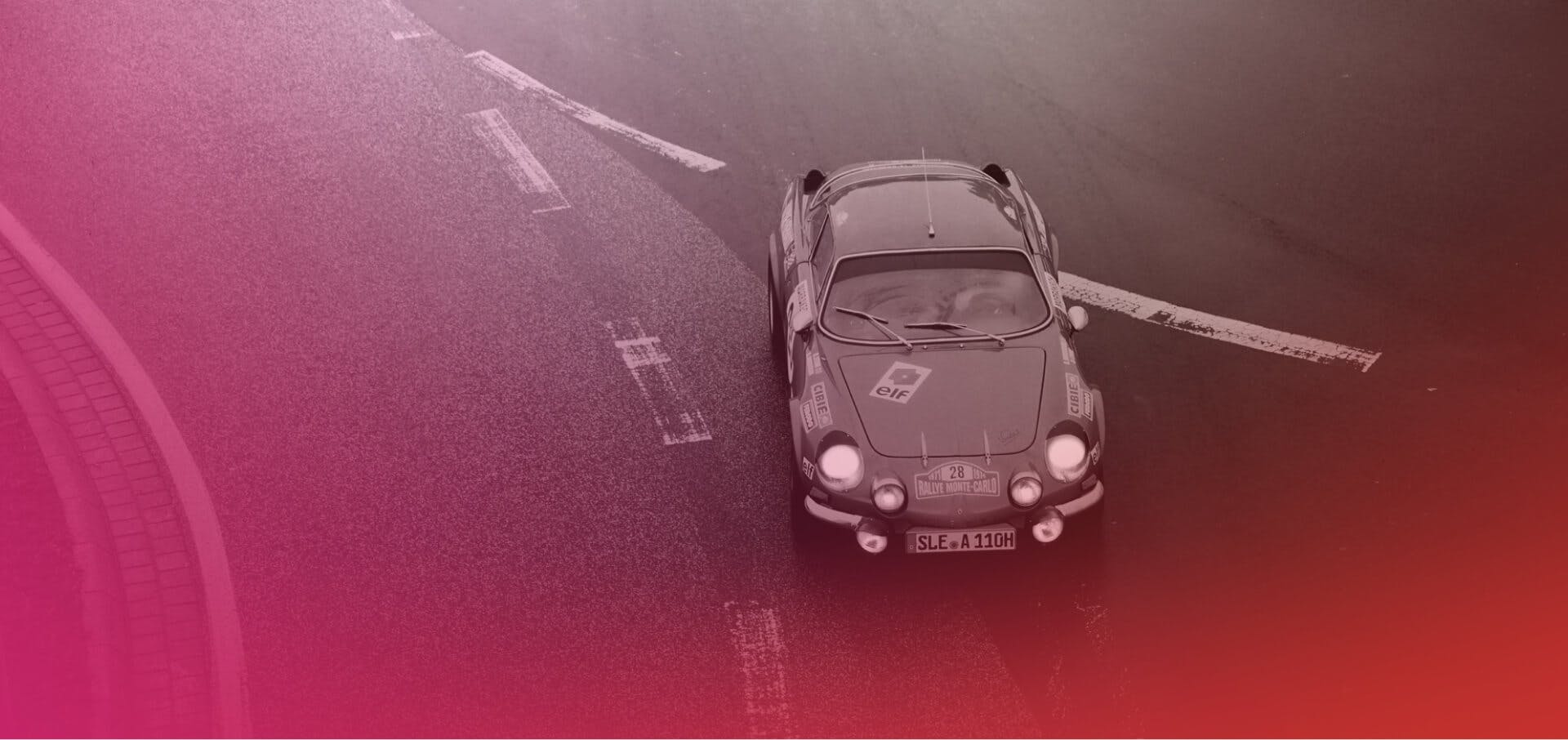 Vintage car on race with color gradient