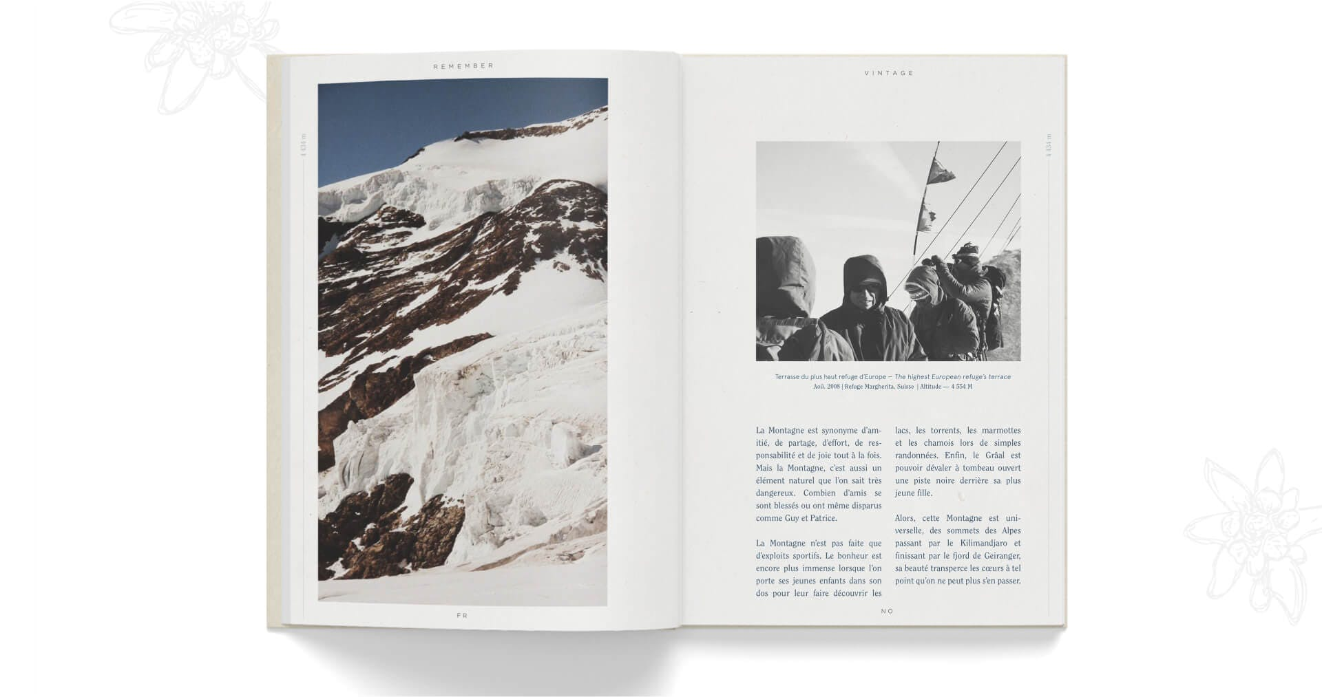 Book open on article about summits and alpinism
