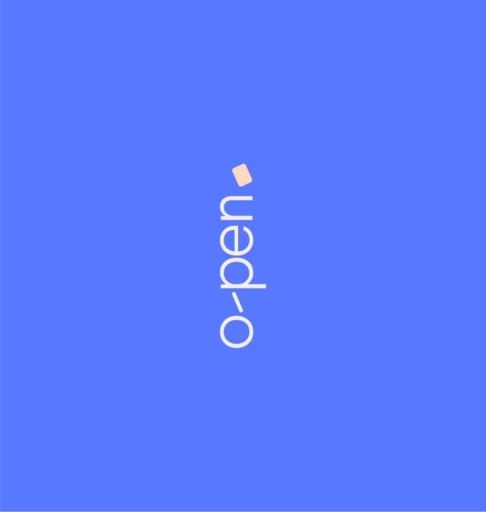 O-Pen logotype on blue background