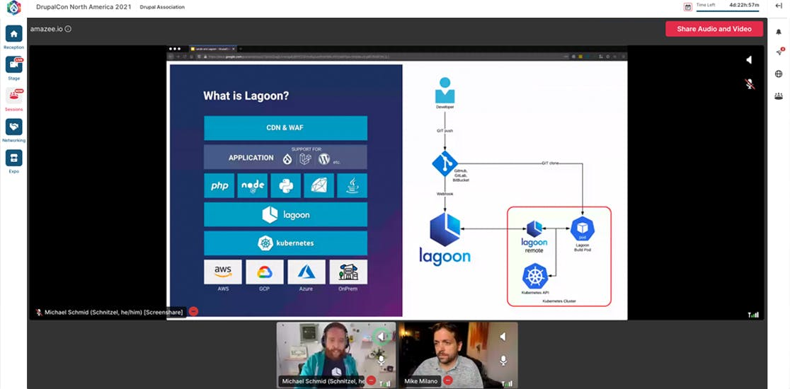 From Lando to Lagoon: The developer-focused workflow from local to production. Presented by Michael Schmid, co-founder and CTO at amazee.io, and Mike Milano from Tandem and Lando.