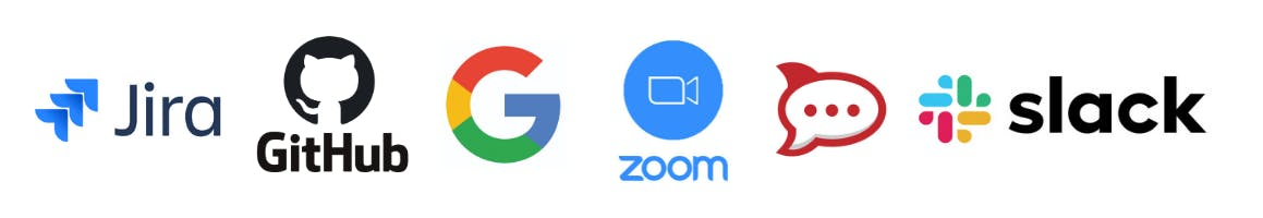 Logos for Jira, GitHub, Google Suite, Zoom, Rocket.Chat, and Slack