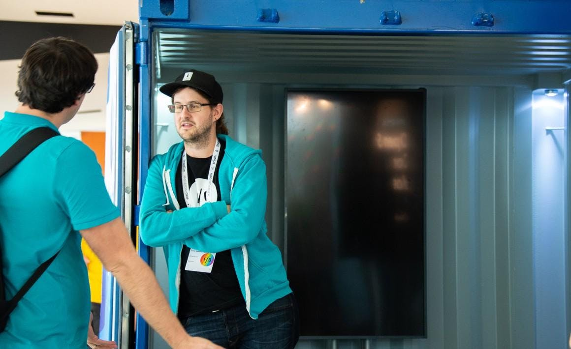 DrupalCon Amsterdam Basti at booth