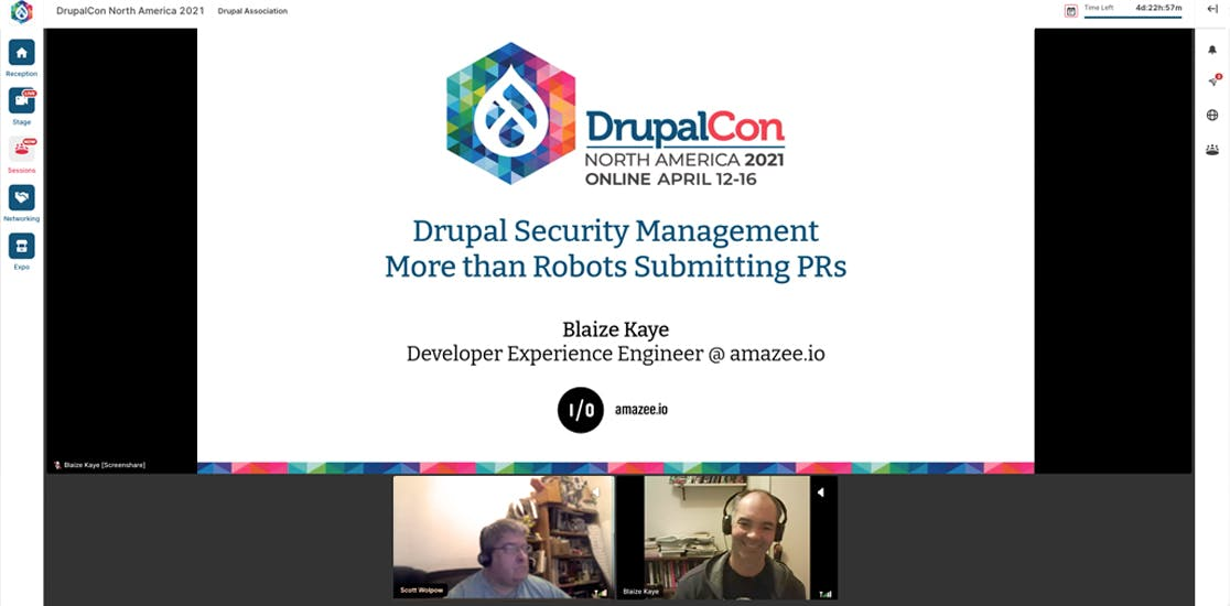 DrupalCon North America 2021. Drupal Security Management - More than Robots Submitting PRs. Presented by Blaize Kaye, Developer Experience Engineer at amazee.io