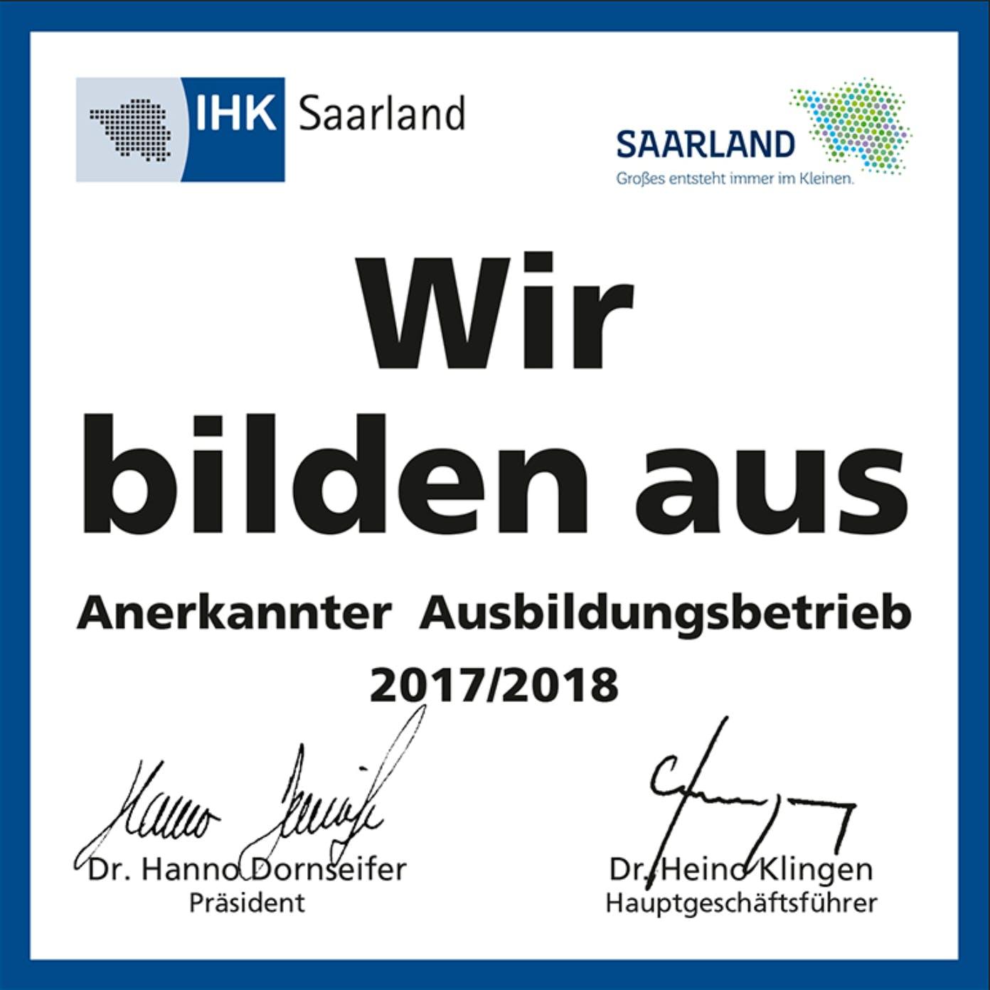 Badge IHK Saarland - Wir bilden aus