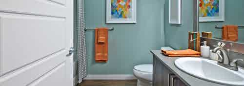 Apartment bathroom with colorful artwork and gray counters at AMLI South Lake Union.