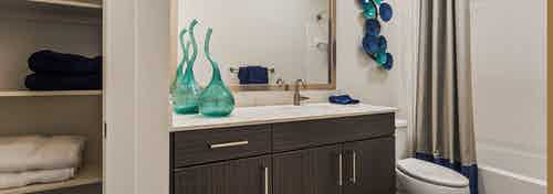 AMLI South Shore bathroom with dark wood single sink vanity with a quartz countertop and white shower tub with built in shelf