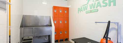 I Interior of paw wash at AMLI Campion Trail apartment building with stainless tub and lockers and grooming stand and dryer