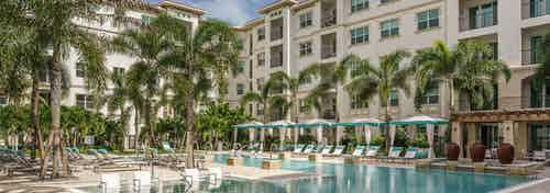 Daytime view of a  swimming pool surrounded by lounge chairs, cabanas and lush palm trees at AMLI Sawgrass Village