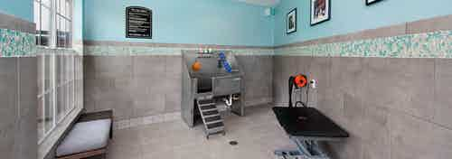 AMLI Piedmont Heights paw wash room with stainless steel dog tub and grooming area to dry off with grey tiled floor and walls