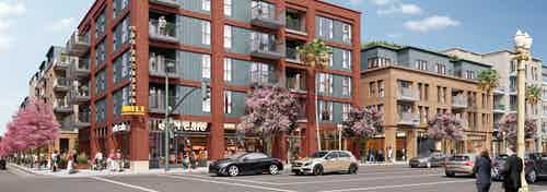 Rendering of pedestrians and cars passing by the AMLI Old Pasadena building featuring tall windows and lined by spring trees