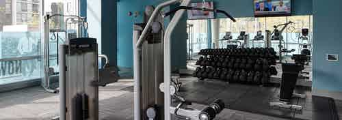An alternative interior view of the fitness center at AMLI Lofts which has teal walls and an area designated for weights