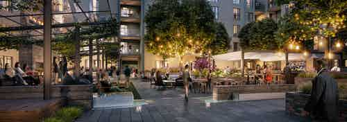 Nighttime rendering of AMLI Old Pasadena residents enjoying apartment courtyard with bright lighting and ample seating